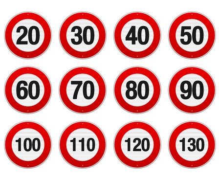 速度制限標識セット  イラスト・ベクター素材