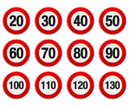 Speed Limit Sign Set Stock Vector - 16498998
