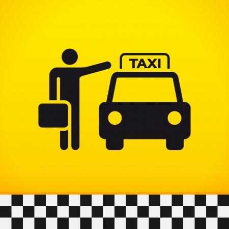 Taxi Theme con pasajeros Ilustración de vector