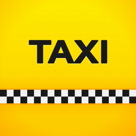 chequerboard: Taxi Word on Yellow Background