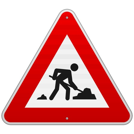 Construction Road Sign Иллюстрация