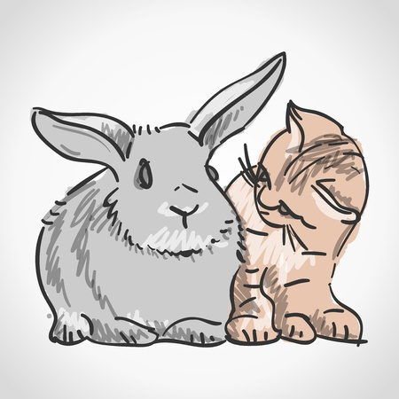 Cat and Rabbit Stock Vector - 17063912