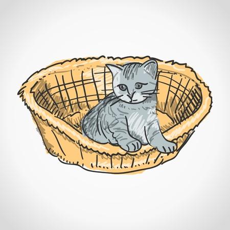 Kitten in Basket Illustration