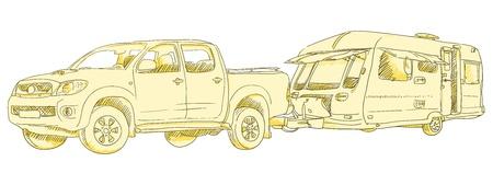 rv: Caravan Drawing Illustration