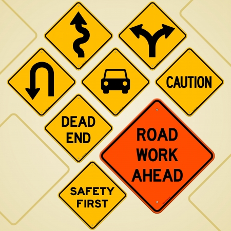 danger ahead: Road Sign Set