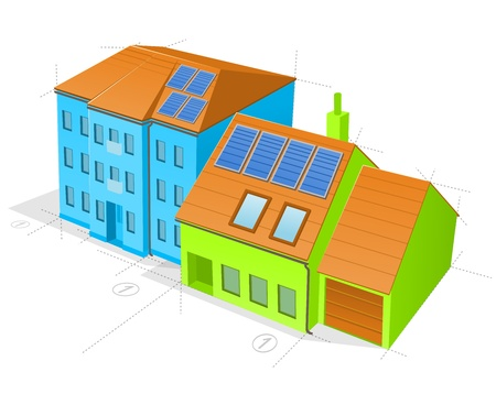 Blue and Green Buildings Stock Vector - 17924487