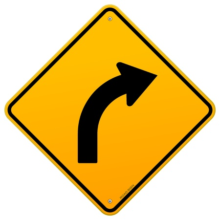 risk ahead: Yellow Curve Sign Illustration