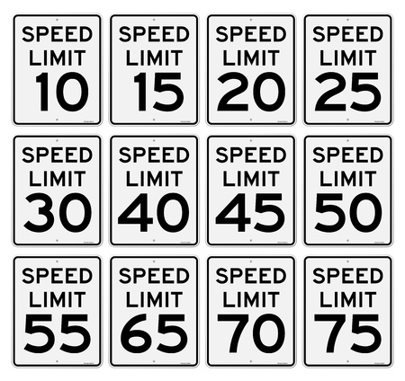 traffic violation: Speed Limit Sign Set