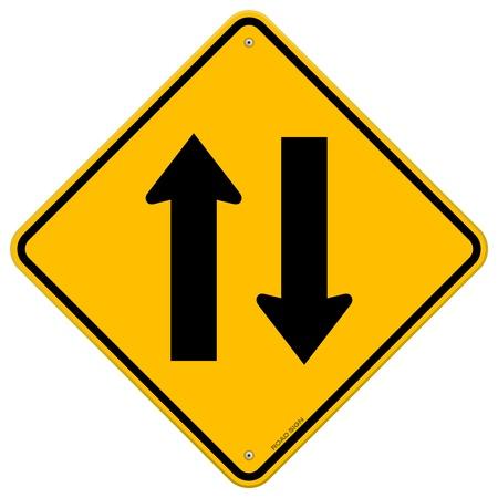 黄色の看板方向矢印  イラスト・ベクター素材