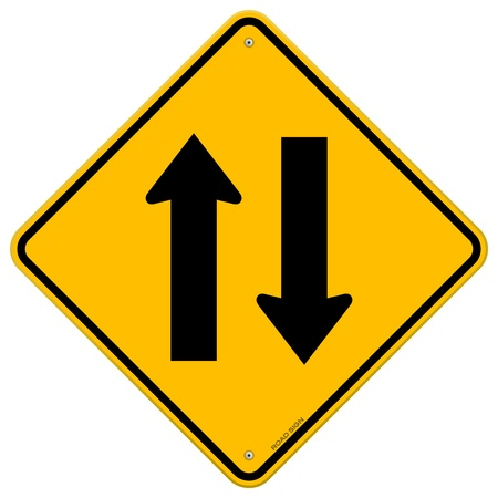 two way traffic: Yellow Sign Directional Arrows