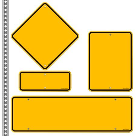 Yellow Roadsigns Set Illustration
