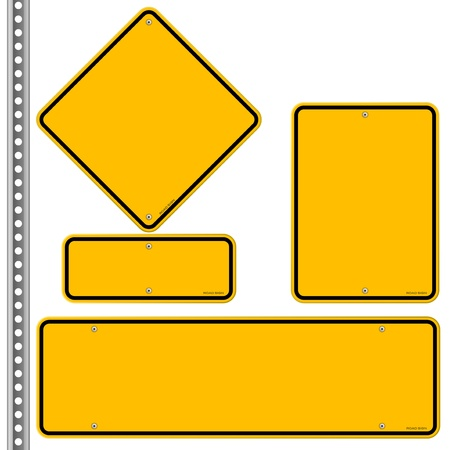 blank road sign: Yellow Roadsigns Set Illustration