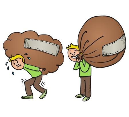 重いかばん漫画  イラスト・ベクター素材
