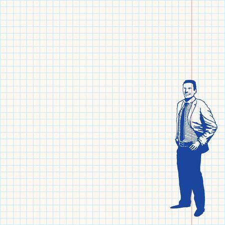 grid paper: Businessman on grid paper Illustration