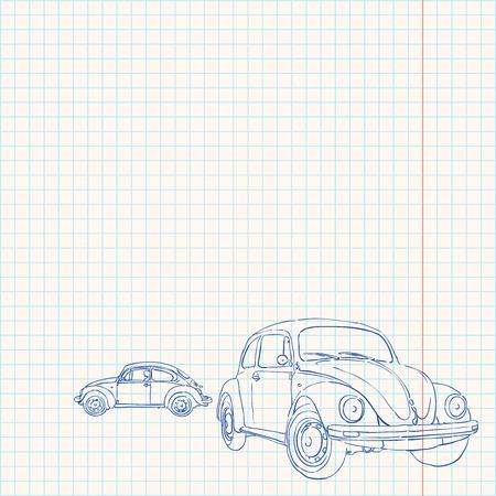 Retro Auto Drawing Vector Illustratie
