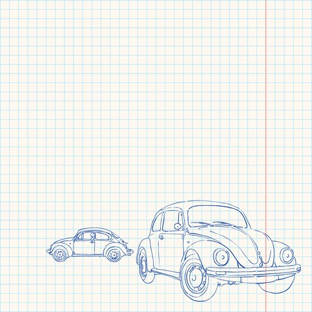 squared: Retro Car Drawing