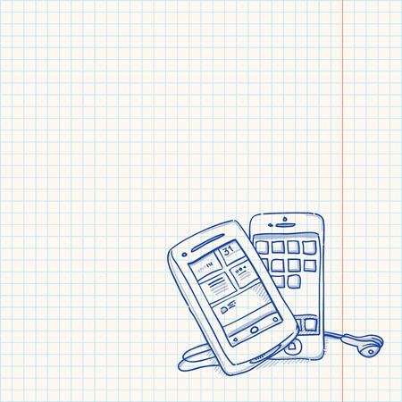 mobile cartoon: Mobile Phone Sketch