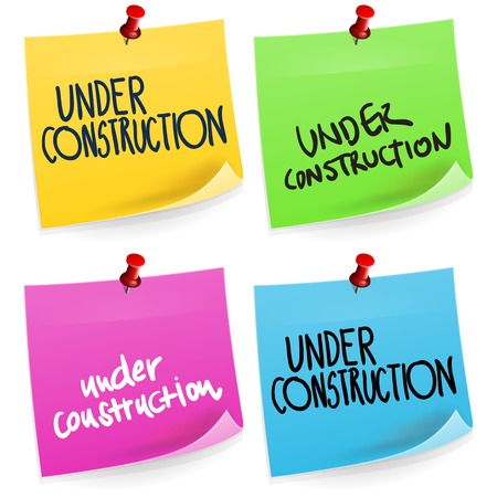 sticky note: Under Construction Sticky Note Illustration
