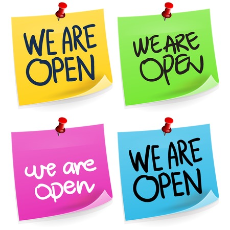 We Are Open Sticky Note Vector