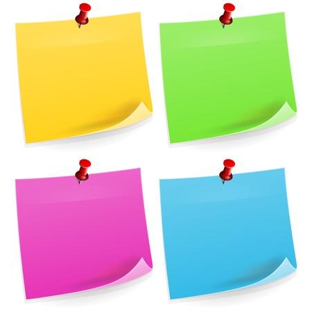 sticky notes: Vier Sticky Notes Stock Illustratie