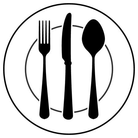 cubiertos de plata: Símbolo Cubiertos Negro