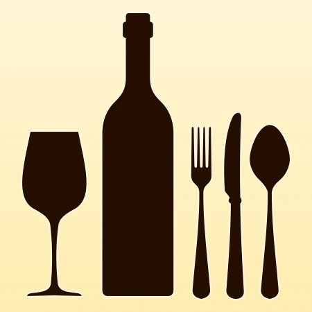 Wine Bottle and Cutlery Stock Vector - 23981212