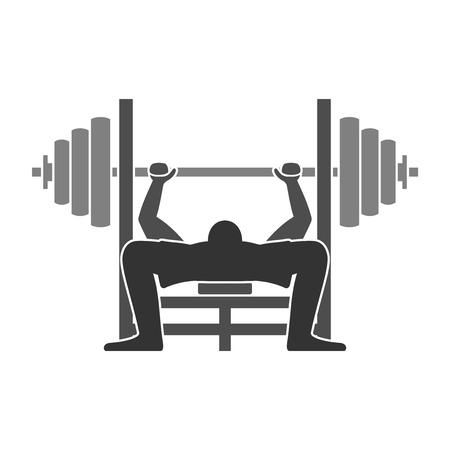 levantamiento de pesas: Bench Press Icon Vectores