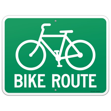 bicycle lane: Bicycle Route Sign Illustration