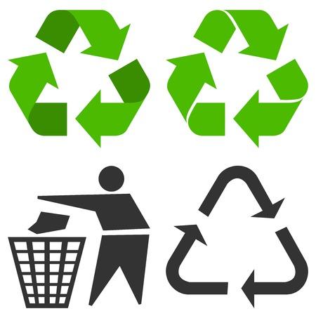 papel reciclado: El símbolo de reciclaje Vectores