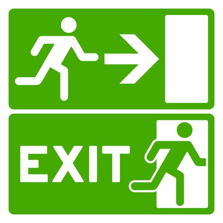 evacuation: Green Exit Symbol Illustration