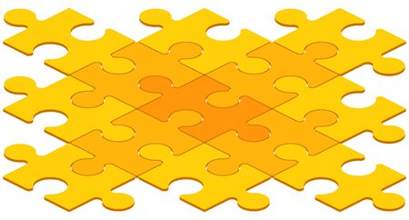 interconnected: Interconnected Yellow Puzzle Pieces on White Illustration