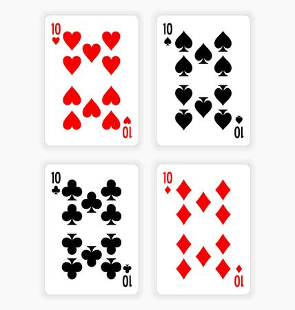 high angle view: High Angle View of Four Playing Cards Spread Out on White Background Showing Tens from Each Suit - Hearts, Clubs, Spades and Diamonds