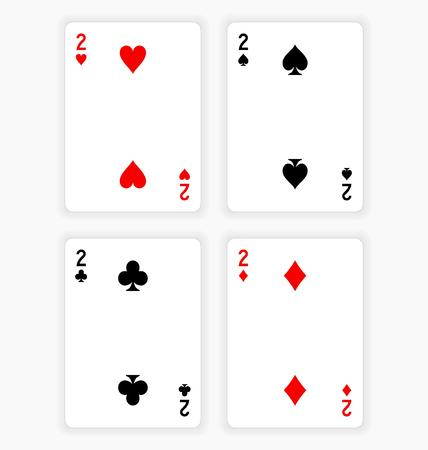 twos: High Angle View of Four Playing Cards Spread Out on White Background Showing Twos from Each Suit - Hearts, Clubs, Spades and Diamonds Illustration