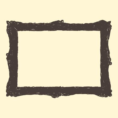 background picture: Single empty brown scribble picture frame on isolated background Illustration