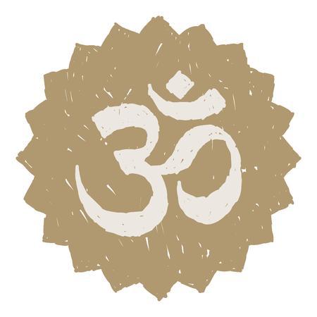 om symbol: Golden Om symbol illustration over white background