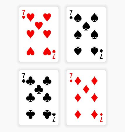 wagers: High Angle View of Four Playing Cards Spread Out on White Background Showing Sevens from Each Suit - Hearts, Clubs, Spades and Diamonds