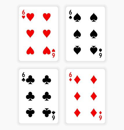wager: High Angle View of Four Playing Cards Spread Out on White Background Showing Sixes from Each Suit - Hearts, Clubs, Spades and Diamonds