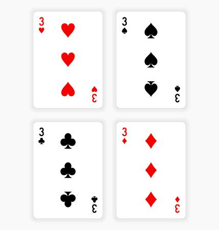 wagers: High Angle View of Four Playing Cards Spread Out on White Background Showing Threes from Each Suit - Hearts, Clubs, Spades and Diamonds