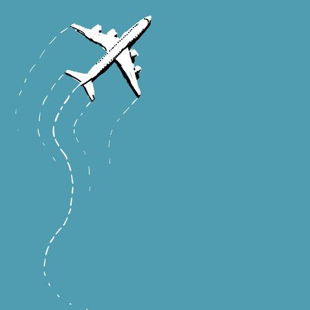 swerving: Single white airplane with contrails swerving over blue background