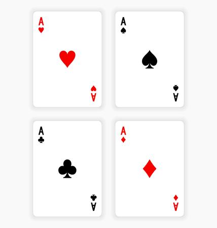 clubs diamonds: High Angle View of Four Playing Cards Spread Out on White Background Showing Aces from Each Suit - Hearts, Clubs, Spades and Diamonds