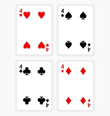High Angle View of Four Playing Cards Spread Out on White Background Showing Fours from Each Suit - Hearts, Clubs, Spades and Diamonds Ilustração