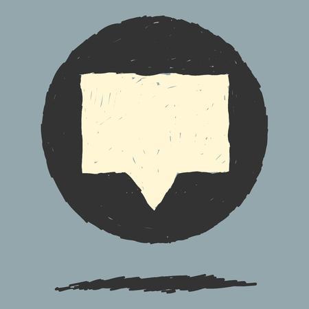 midair: Single blank dialog box mid-air inside black circle Illustration