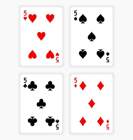 wagers: High Angle View of Four Playing Cards Spread Out on White Background Showing Fives from Each Suit - Hearts, Clubs, Spades and Diamonds