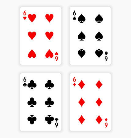 Playing Cards Showing Sixes from Each Suit Ilustração