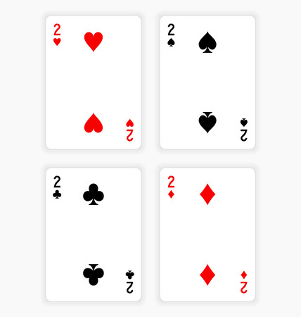 Playing Cards Showing Twos from Each Suit