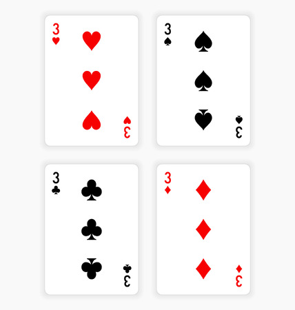 Playing Cards Showing Threes from Each Suit Ilustração