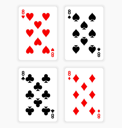 eights: Playing Cards Showing Eights from Each Suit