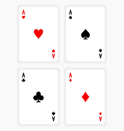Four Aces Playing Cards on White Background Иллюстрация
