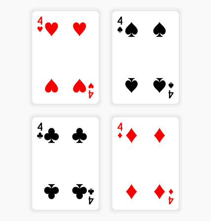 Playing Cards Showing Fours from Each Suit