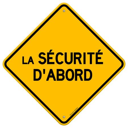 diamond shaped: Isolated single yellow diamond shaped la securite dabord hazard sign over white background